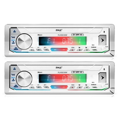 Pyle PLMRB39W Bluetooth Wireless In Dash Stereo Radio Head Unit Receiver with Wireless Music Streaming and Hands Free Calling, White (2 Pack)