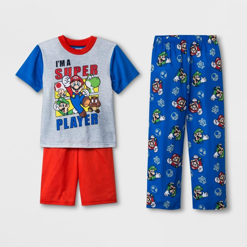 Boys' Nintendo Super Mario 3pc Pajama Set - Blue 8