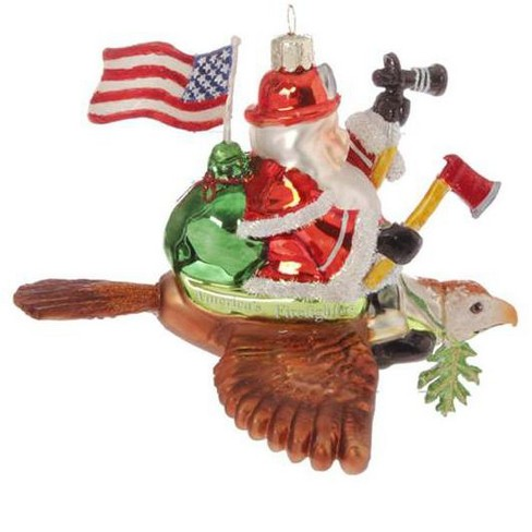 "Raz Imports 6"" Patriotic American Fireman Firefighter Santa Claus Glass Christmas Ornament - Red/Blue - image 1 of 1"