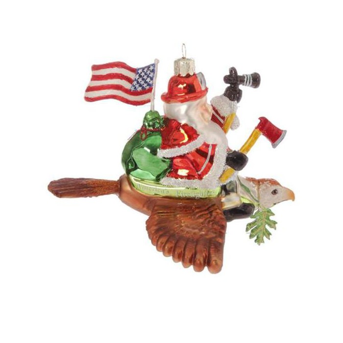 """Raz Imports 6"""" Patriotic American Fireman Firefighter Santa Claus Glass Christmas Ornament - Red/Blue - image 1 of 1"""