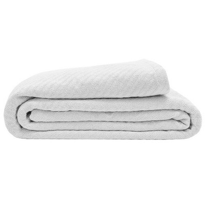 Elite Home 108 x 90 Inch 100 Percent Organic Cotton Throw Blanket with Diagonal Herringbone Weave for Couch, Sofa, or Bed, King, White