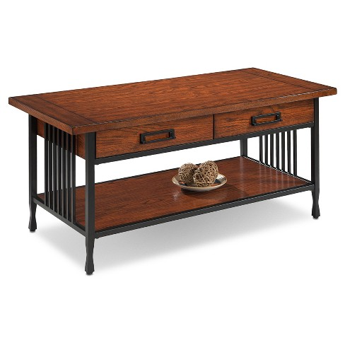 Ironcraft Two Drawer Coffee Table Mission Oak Leick Home