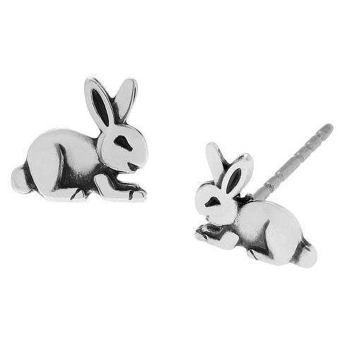 Women's Journee Collection Rabbit Stud Earrings in Sterling Silver - Silver - image 1 of 2