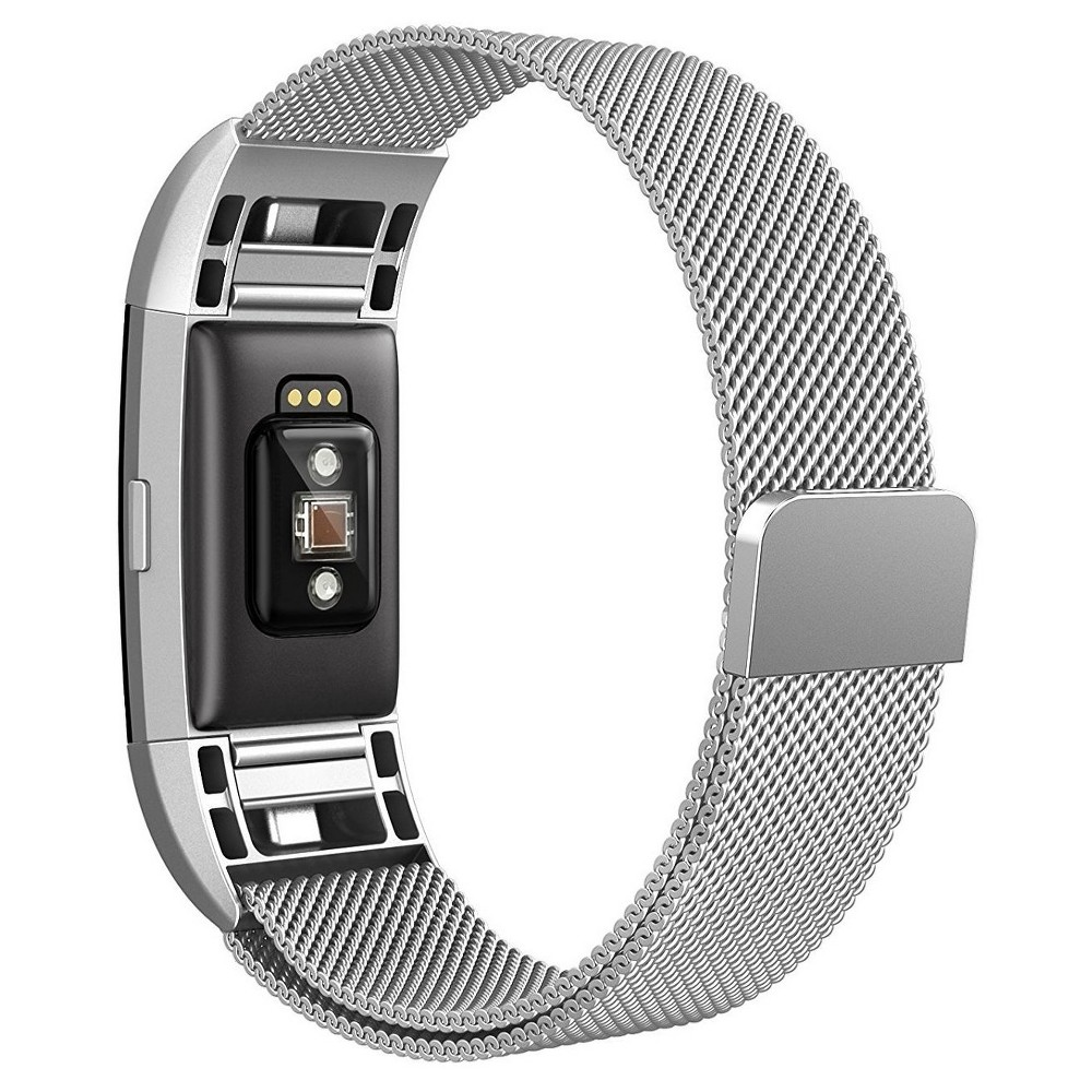 North Charge Milanese Loop Fitness Monitor Strap - Silver, Shiney Silver