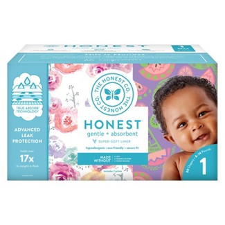 Honest Company Disposable Diapers Club Pack Rose Blossom & Sliced Fruit - Size 1 (80ct)
