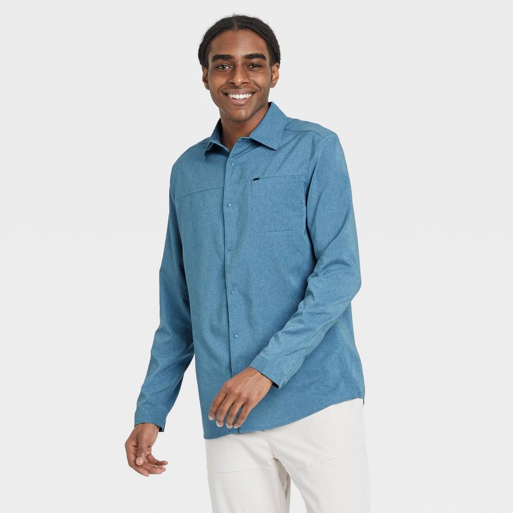 Men 39 S Big 38 Tall Long Sleeve Button Up T Shirt All In Motion 8482 Teal Xxxl