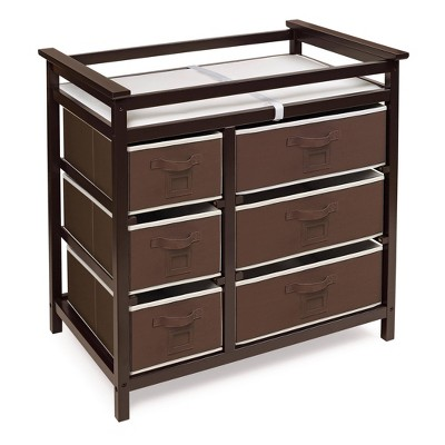 Badger Basket Modern Baby Changing Table with Six Baskets - Espresso Brown