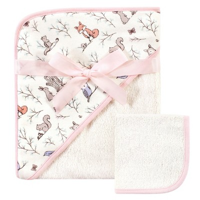 Hudson Baby Infant Girl Cotton Hooded Towel and Washcloth 2pc Set, Enchanted Forest, One Size
