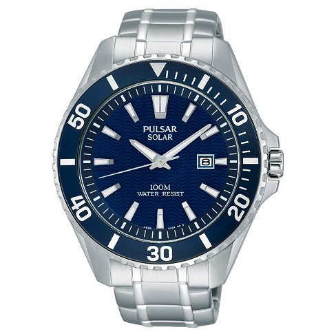 2a0f636ee Men's Pulsar Solar Sport Watch - Silver Tone With Blue Dial - PX3067 ...