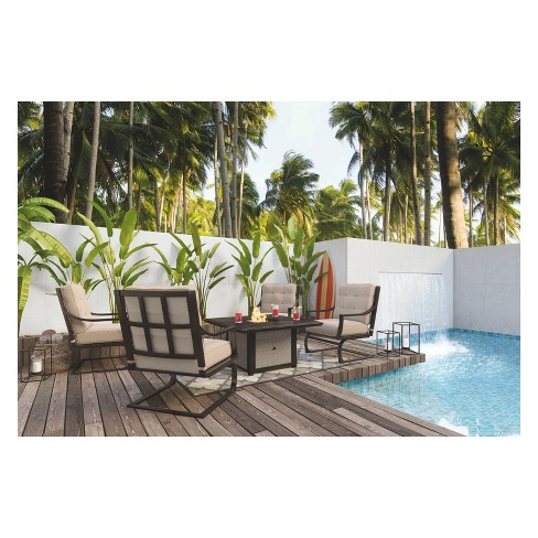 Town Court Spring Lounge Chair With 4 Cushion Brown Outdoor By