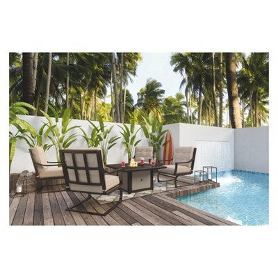 Town Court Spring Lounge Chair With 4 Cushion   Brown   Outdoor By Ashley :  Target
