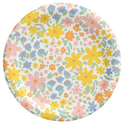 "8.5"" 15ct Floral Disposable Dinner Plates - Spritz™"