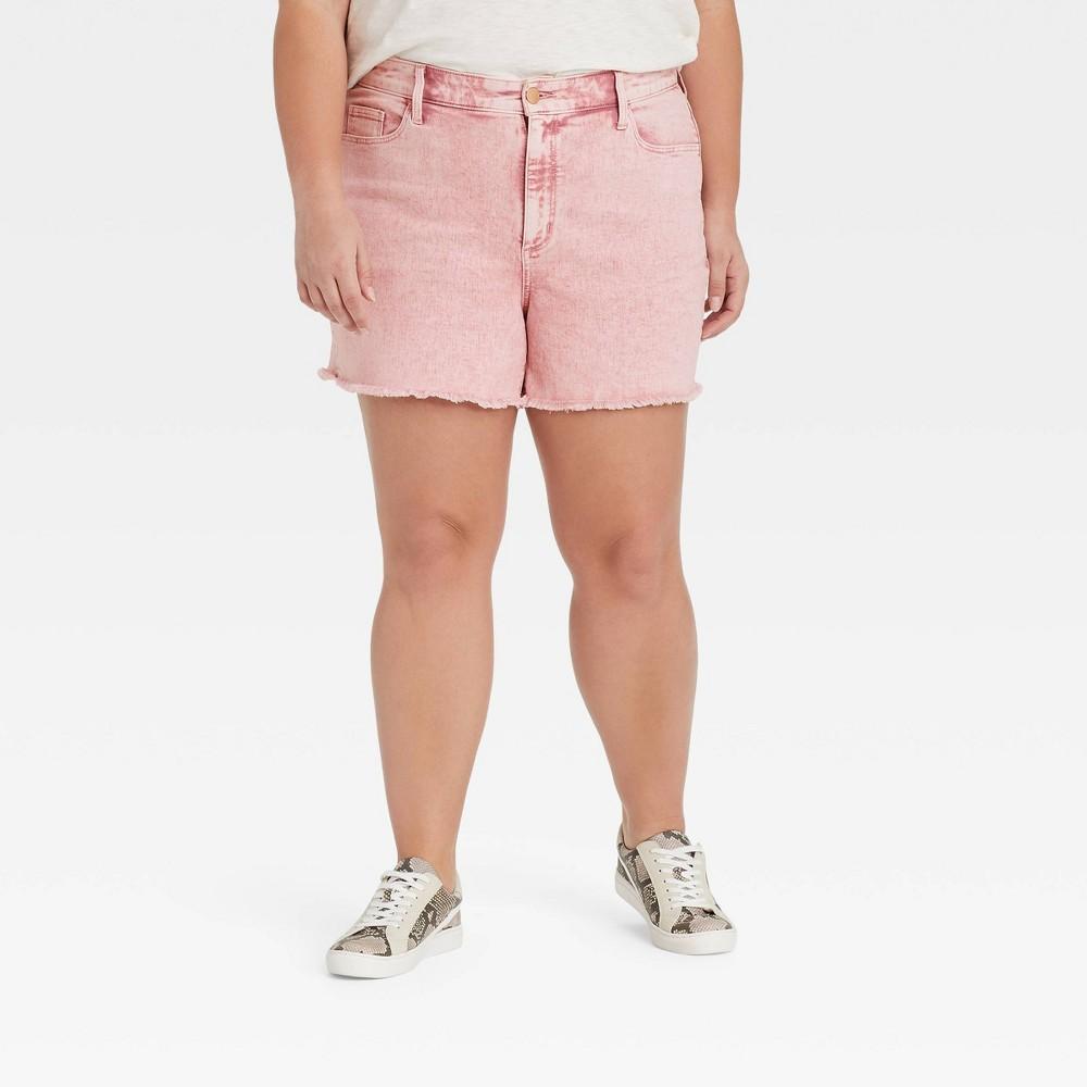Women 39 S Plus Size High Rise Slim Fit Jean Shorts Universal Thread 8482 Pink 14w
