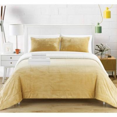 Chic Home Bjurman Blanket Set Sherpa Lined Faux Mink Blanket Shams & Sheet Set 7 Piece, Camel