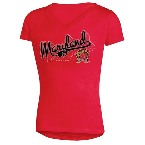 NCAA Girl's Short Sleeve V-Neck Puff Glitter T-Shirt Maryland Terrapins - image 1 of 1