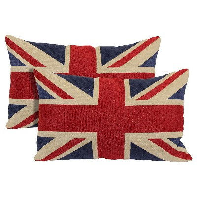 Red Union Jack Toss Throw Pillow 2 Pack (13 x21 )- Brentwood