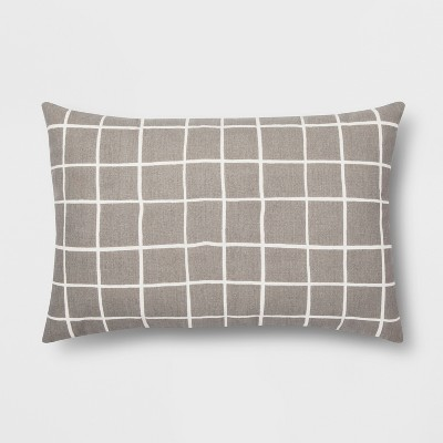 Gray Grid Lumbar Throw Pillow - Room Essentials™