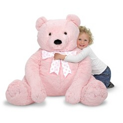 Melissa & Doug Jumbo Pink Teddy Bear Stuffed Animal (2 feet tall)