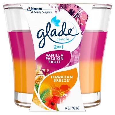 Glade 2in1 Jar Candle Air Freshener, Hawaiian Breeze & Vanilla Passion Fruit, 3.4oz