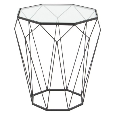Metal and Glass Octagonal Side Table Dark Gray - Olivia & May