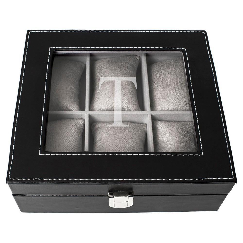 Monogram Leatherette Groomsmen Gift Watch Jewelry Box - T, Black