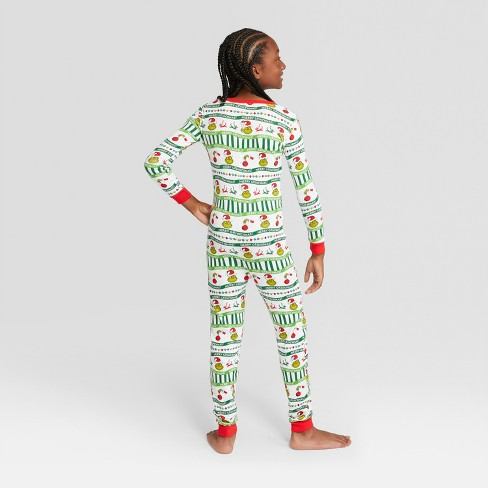1380e4193 Kids  Dr. Seuss The Grinch Holiday Union Suit - White 5   Target