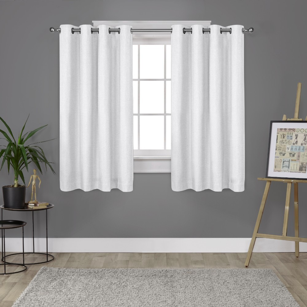 52x63 London Thermal Textured Linen Grommet Top Blackout Window Curtain Panels White - Exclusive Home