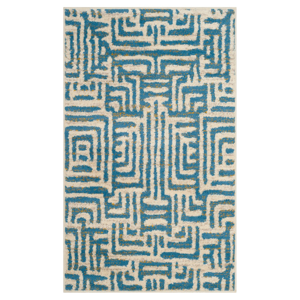 Ivory/Light Blue Shapes Loomed Accent Rug 3'X5' - Safavieh