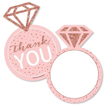 Big Dot of Happiness Bride Squad - Shaped Thank You Cards - Rose Gold Bridal Shower Bachelorette Party Thank You Note Cards with Envelopes - Set of 12
