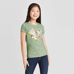 Girls' Short Sleeve Floral Heart Graphic T-Shirt - Cat & Jack™ Army Green