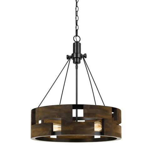 "Bradford Metal And Wood Chandelier Gray 5.6""x2.2"" - Cal Lighting - image 1 of 2"