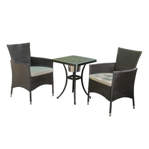 Ava 3pc Aluminum And Wicker Bistro Set With Ice Bucket Brown Shiny Copper Christopher Knight Home Target