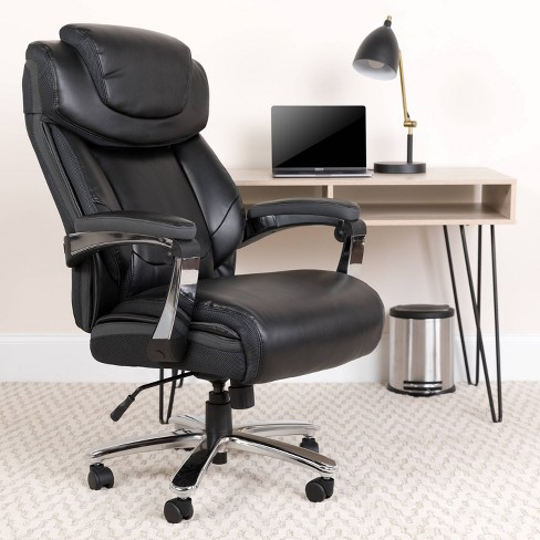 """52"""" Leather Executive Swivel Ergonomic Office Chair with Height Adjustable Headrest - Riverstone Furniture - image 1 of 4"""