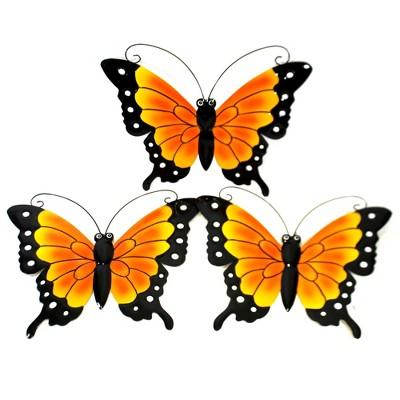 "Home & Garden 13.25"" Set / 3 Butterfly Wall Hangings Yard Decor Orange Flower Summer Direct Designs International  -  Decorative Garden Stakes"