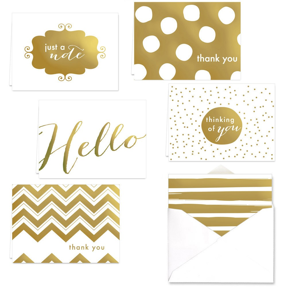 Image of 24ct Thank You Note Card Set Gold