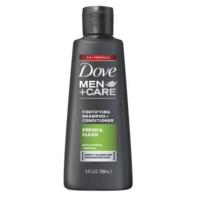 Dove Men+Care Fresh and Clean 2 in 1 Shampoo + Conditioner -Travel Size - 3 fl oz