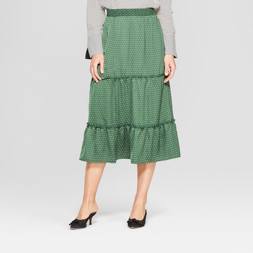 Women's Polka Dot Tiered Midi Skirt - Who What Wear Green M