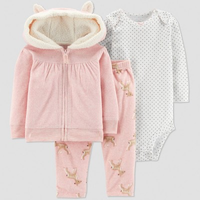 Baby Girls' 3pc Deer Cardigan Set - Just One You® made by carter's Coral 3M
