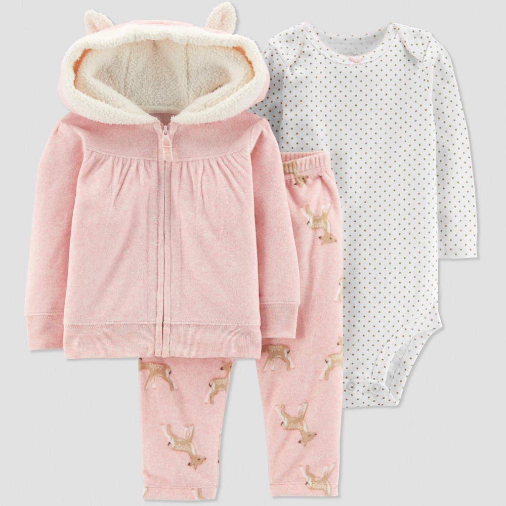 Baby Girls' 3pc Deer Cardigan Set - Just One You made by carter's Coral Newborn, Pink
