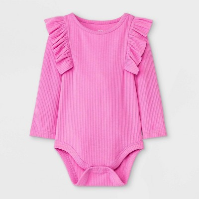 Baby Girls' Rib Ruffle Long Sleeve Bodysuit - Cat & Jack™ Pink 0-3M