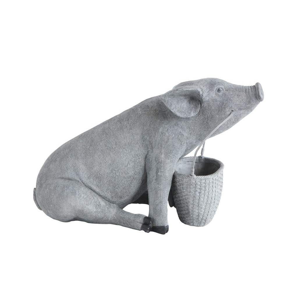 "Image of 11.25"" x 8.25"" Decorative Resin Pig With Basket Cement Finish Gray - 3R Studios"
