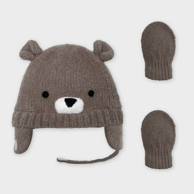 Baby Boys' Knit Bear Critter Hat and Magic Mittens Set - Cat & Jack™ Brown 0-6M