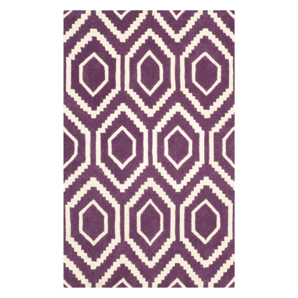 3'X5' Geometric Tufted Accent Rug Purple/Ivory - Safavieh