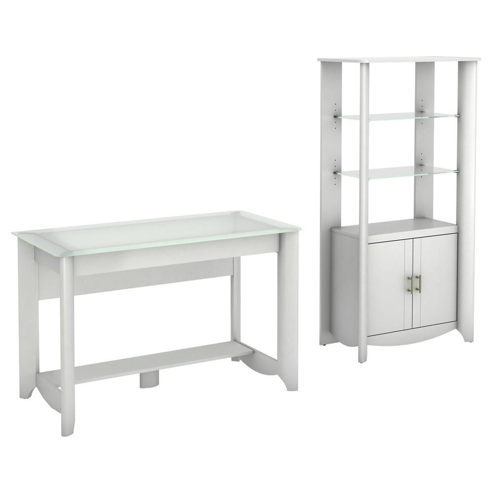 Aero Desk with Tall Library Storage - White - Bush Furniture, Pure White
