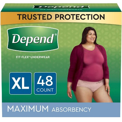 Depend FIT-FLEX Incontinence Underwear for Women - Maximum Absorbency - Blush