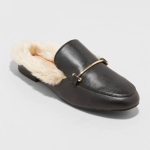 Women's Rebe Faux Fur Mules - A New Day™ - image 1 of 3