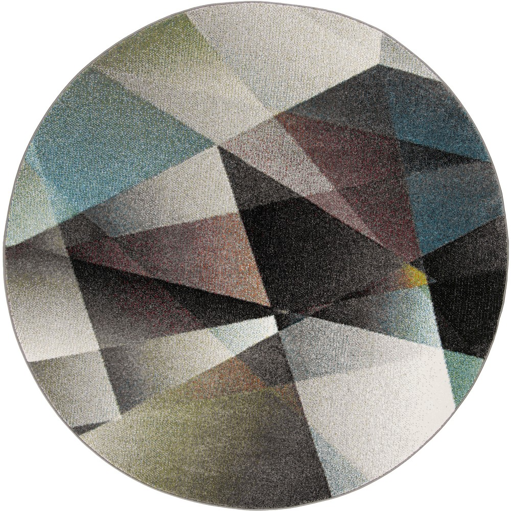 6'7 Geometric Loomed Round Area Rug Gray - Safavieh, Gray/Multi-Colored