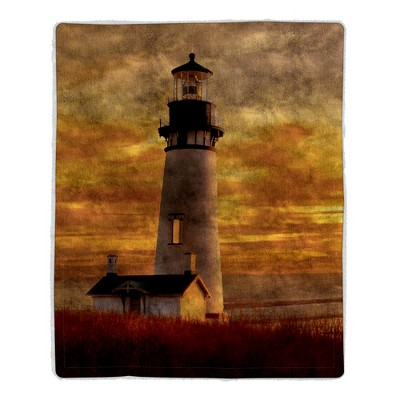 Sherpa Fleece Throw Blanket- Lighthouse Print Pattern, Lightweight Hypoallergenic Bed or Couch Soft Plush Blanket for Adults and Kids by Hastings Home