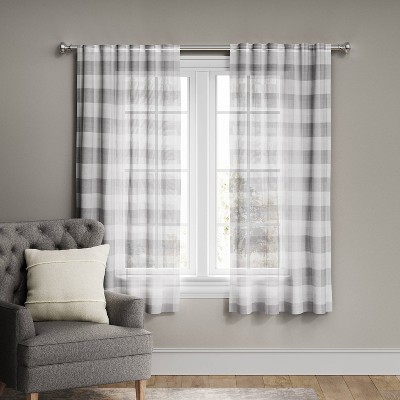 Plaid Light Filtering Window Curtain Panel Gray/Cream - Threshold™