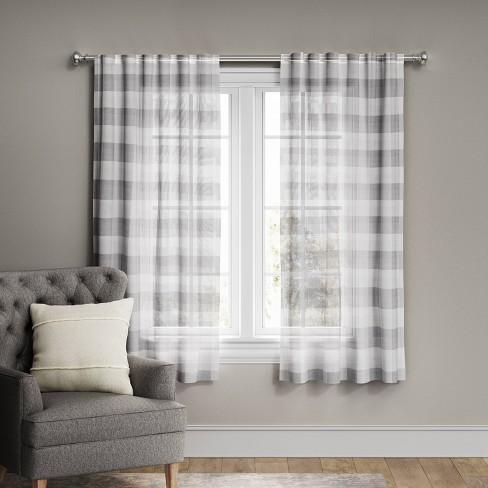 Plaid Light Filtering Window Curtain Panel Gray/Cream - Threshold™ - image 1 of 4